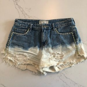 Free People Flowered Denim Shorts with Lace